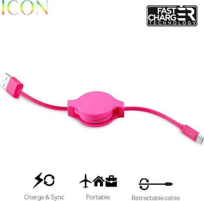Puro Retractable USB 2.0 to micro USB Cable Pοζ 1m (CMICRORTICONPNK)