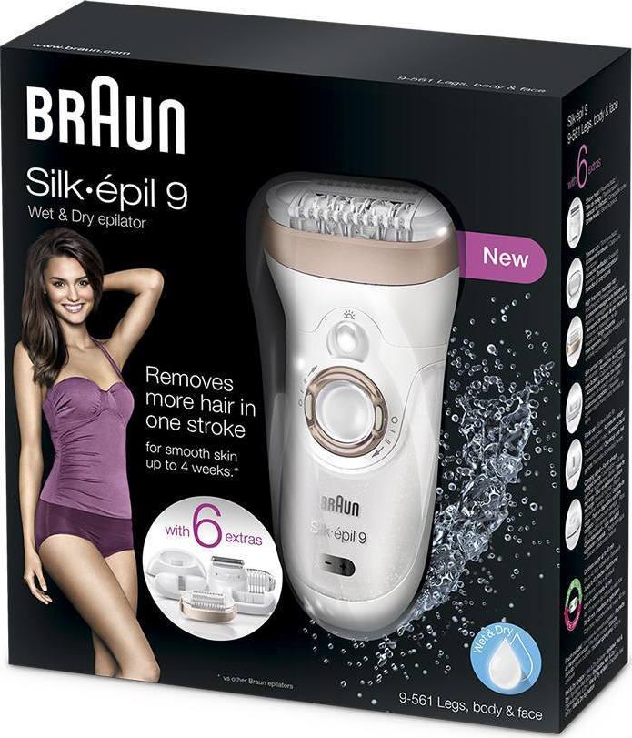 Braun Silk Epil 9-561 Skinspa Epilator Wet   Dry White Bronze ... a15b59dfecf