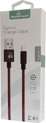 Powertech Braided USB 2.0 Cable USB-C male - USB-A male Κόκκινο 1m (PTR-0032)