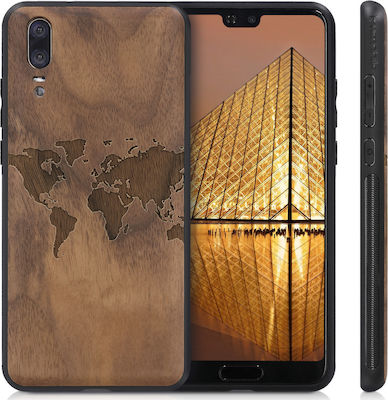 KW Back Cover World Map Καφέ (Huawei P20)