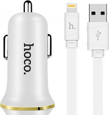 Hoco Z1 Dual Car charger 2.1A & lightning Cable White