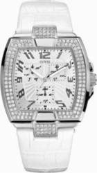Guess Square Calendar White Leather Strap Ladies W14515L2