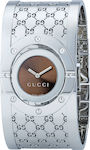 Gucci Brown Dial Logo Steel Bracelet YA112401