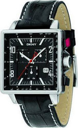 DKNY Chronograph Black Dial Black Leather Strap NY1348