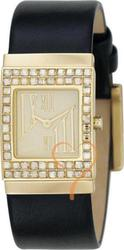 DKNY Black Leather Strap Gold Case Crystal Ladies NY4452
