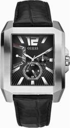 Guess Black Leather DualTime Calendar W13075G1
