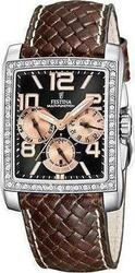 Festina Classic Brown Leather Strap Crystal Ladies F16362/2