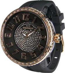 Tendence Round Gulliver Crystal Black Rubber Strap - 02043015