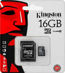 Kingston microSDHC 16GB Class 10 with Adapter