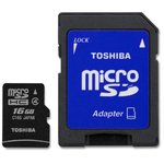 Toshiba microSDHC 16GB Class 4 BL5 with Adapter