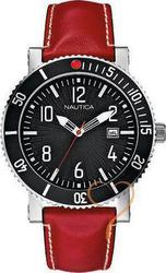 Nautica Sport Black Dial Red Leather Strap A17509G
