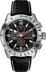 Nautica NST Black Dial & Leather Strap A18538G