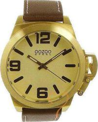 Oozoo Steel XL Gold Brown Leather Strap OS102