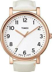 Timex Rose Gold White Strap Watch 2N341