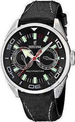 Festina Sport Calendar Black Leather Strap - F165724