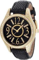 Juicy Couture Black Leather Strap Gold Dial 1900656