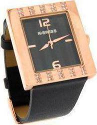 K-Swiss Rose Gold Case Black Leather Strap 930066504