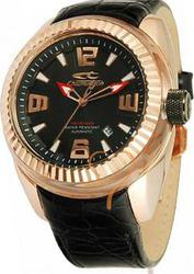 Chronotech Rosegold Black Leather Strap - CT7929M05