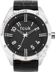 FCUK Crystal Ladies Black Leather Strap FC1084SB