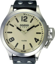Oozoo Steel XXL Grey Leather Strap OS325