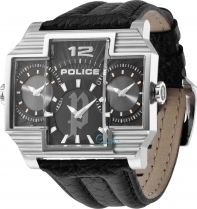 Police Hammer Head Double Time Black Leather PL13088JS-02