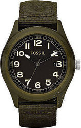 Fossil Men's Black Dial Olive Fabric Strap - JR1293