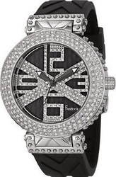 Freelook Glamour Swarovski Crystals Black Rubber Strap HA1162-4