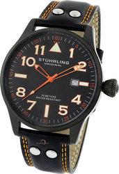 Stuhrling Mens Eagle Brigade Red Leather Strap 141A.3315H40