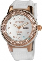 Jet Set WB30 Crystal Rose Gold White Rubber Strap J6545R-141