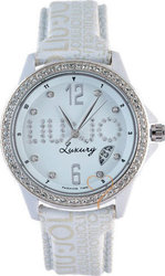 Liu Jo Script Crystal Lady White Dial Beige Leather Strap - TLJ052