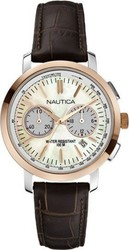 Nautica NCT 800 Brown Leather Chronograph A19580M