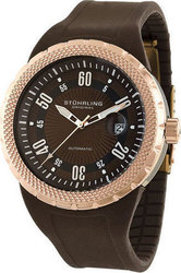 Stuhrling Florio Rose Gold Case Brown Rubber Strap - 254.3366K59