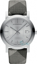Burberry Silver Shimmer Check Fabric Strap BU1869