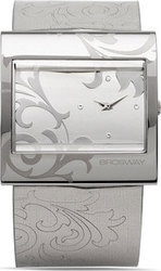 Brosway Square Crystal Lady Silver Dial White Leather Stra SM01