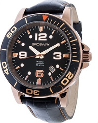 Brosway Rosegold Case Black Dial and Leather Strap MD05