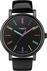 Timex Easy Reader Black Leather Strap T2N790