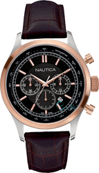Nautica Brown Leather Chronograph A19590G