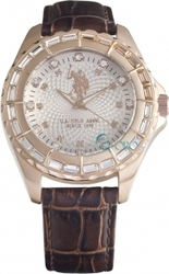 U.S. Polo Assn. U.S. Crystals Rose Gold Brown Leather Strap USP5082BR