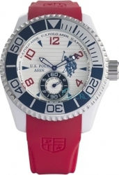 U.S. Polo Assn. U.S. Chronograph Red Rubber Strap White Dial - USP4153RD
