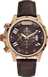 Marc Ecko Rose Gold The Grid Chronograph Brown Leather Strap - EM18511G1