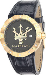 Maserati Tridente Crystal Ladies Gold Black Leather Strap - R8851103502