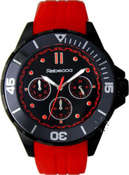 Rebecca Griffe Chrono Black Ceramic Red Rubber Strap - ACRONR82