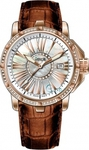 Venus Genesis Full Of Diamonds Date Rose Gold Brown Leather Strap