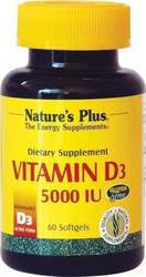 Nature's Plus Vitamin D3 5000IU 60 μαλακές κάψουλες