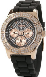 Cobra Crystal Ladies Rose Gold Black Rubber Strap CO128SR2S2