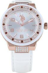 U.S. Polo Assn. Crystal Lady Silver Dial White Leather Strap USP5094RG