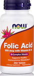 Now Foods Folic Acid 800mcg + B-12 25mcg 250 ταμπλέτες