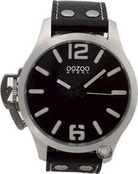 Oozoo Steel All Black Leather Strap (New) OS056