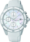 Seiko Sportura Ladies Chrono White Leather Strap SNDX57P1