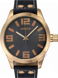 Oozoo Xl τimepieces Rose Gold Black Leather Strap C5887